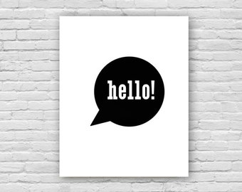 Hello! Art Print, English Art Print, Children's Art, Nursery Art Poster, Instant Download