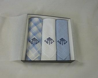 Monogrammed Handkerchiefs Mens  Plaid  Blue Assorted  Set of 3