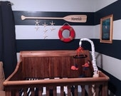 """52"""" Personalized Raw Wood Nautical Nursery Decor Paddle with Painted Name / Optional Starfish Strings / Name Sign / Canoe Oar / Beach"""