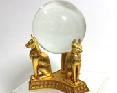 Vintage Crystal Ball with Egyptian Cat Stand, Halloween Decor