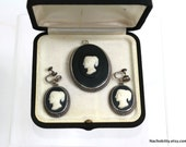 1890s Fine Cameo Mourning Pendant, Earrings & Brooch, Sterling Antique Jewelry