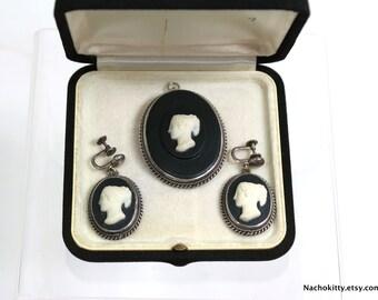 1890s Fine Cameo Set: Pendant, Earrings & Brooch, Sterling Antique Jewelry