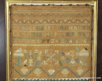 1740s Fine Antique Sampler, Boston School, Geometric Forest with Birds, Alphabets, Historic Textile