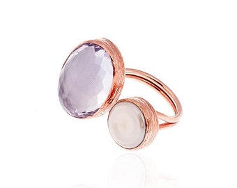 Rose Quartz and a pearl Ring