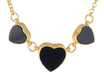 Black Onyx Heart Necklace with gold vermeil over sterling silver