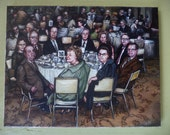 Table Sixteen, Original Painting, Party, Banquet, 1960, 1970, Group Portrait, Nostalgia, Midcentury, Cocktail Party, Wedding, Hotel, Swanky
