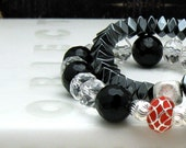 Red and Black Modern Beaded Bracelet with Clear Crystal Black Onyx Crystal Partner Bracelet