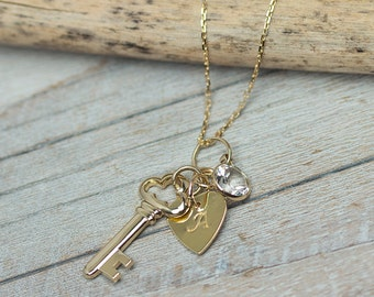 Solid Gold Heart and Key, Personalized Necklace