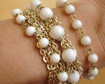 vintage ART 5 strand faux milk glass gold bracelet