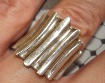 bold vintage tribal ribbed sterling silver ring size 6