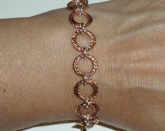 Twisted Double Spiral Linked Chainmaille Bracelet - Dusty Rose Gold Color with Sterling Silver Chainmaille Bracelet