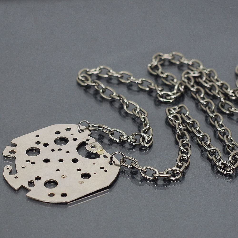Steampunk Jewelry- Silver Upcycled Clock Part on Gunmetal Chain Industrial Necklace steampunk buy now online