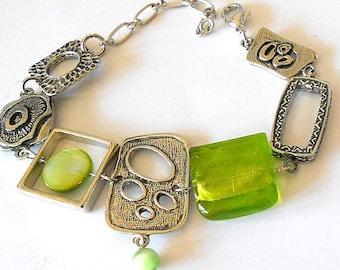Lime green bracelet, abstract bracelet, gift for her, asymmetrical bracelet, geometric jewelry, funky jewelry