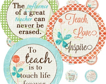 Instant Download - To TEACH is to LOVE (1.5 Inch Round) Bottlecap Images Digital Collage Sheet - printable, Teacher Appreciation Gifts, DIY