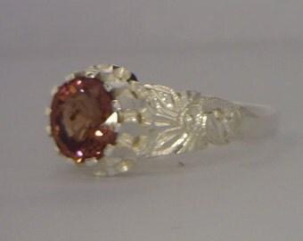 Purplish Orange Spinel Flower of Angels Handmade Silver Ladies Ring size 8.75