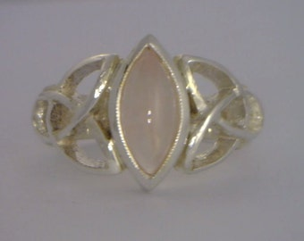 Pink Rose Quartz Handmade 925 Silver Celtic Knot Infinity Symbol Ring size 9.5