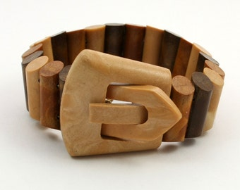 Vintage Buckle Bracelet, Stretch Bracelet, Brown Plastic Wood Effect, Elasticated Bracelet, Hong Kong