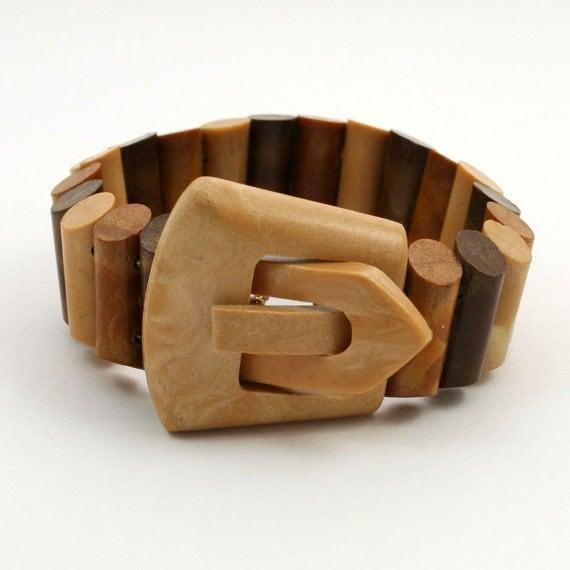 Vintage Brown Plastic Buckle Bracelet Signed Hong Kong
