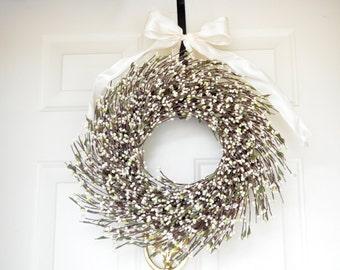White Wreath - silver glittered white raspberries - Holiday front door decor - White Christmas