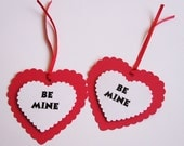 Be Mine Valentine's Day Heart Favor Tags set of 12 tags