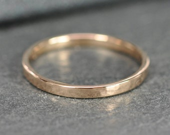 18K Rose Gold Ring 2mm Wide, Hammered Texture, made by Sea Babe Jewelry