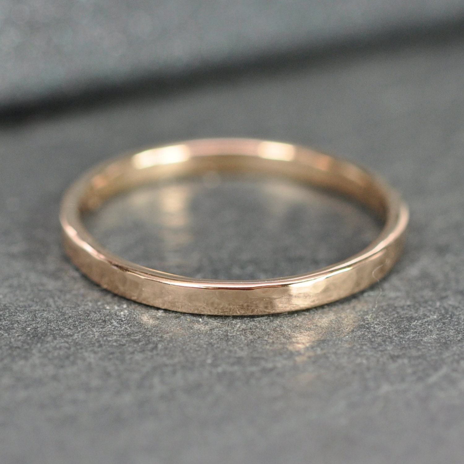 hammered gold ring 18k gold 2mm band by