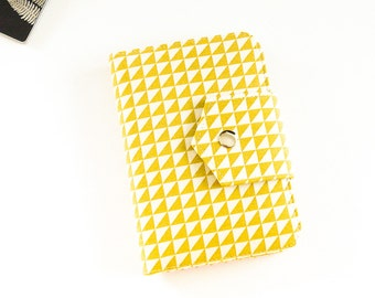 Passport Wallet , Travel Wallet, Passport Holder for Two OR Four Passports in Mustard Triangles -  Made To Order