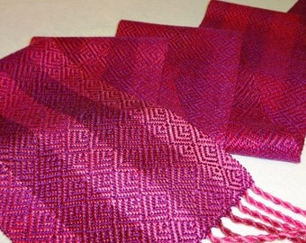 Hand Woven Silk Scarf - Hand-dyed Silk Scarf - A Rose is a Rose - Fuchsia - Valentine's Day