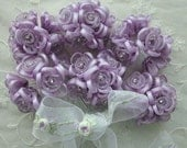 36 pc  LAVENDER Wired Satin Organza Rhinestone Seed Beaded Rose Flower Applique Bridal Wedding Bouquet