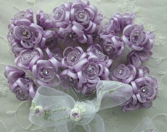 36 pc  LAVENDER Wired Satin Organza Rhinestone Seed Beaded Rose Flower Applique Bridal Wedding Bouquet