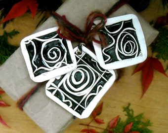 TRIO of Tribal Spiral Swirl Gift Tags, Pendants, Ornaments - Rustic HandMade Black, White Graphic Woodblock Stamped Set of 3 Wall Hangings