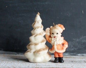 Pair of Vintage Sixties Candles Santa Claus and White Christmas Tree
