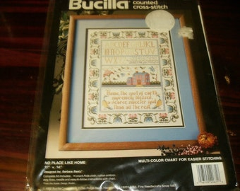 Sealed Kit No Place LIke Home Bucilla 40671 Counted Cross Classic Sampler Style Complete and Ready to Stitch