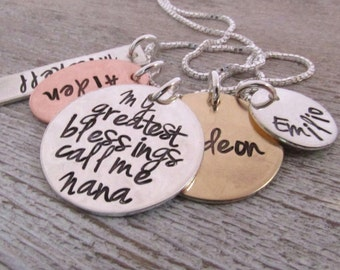 My Greatest Blessings  - Hand Stamped Jewelry - Personalized Necklace - Nana Necklace