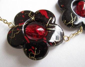 Red Statement Necklace, Red and Black Statement Necklace, Red Crackle Glass and Acrylic Flower Necklace
