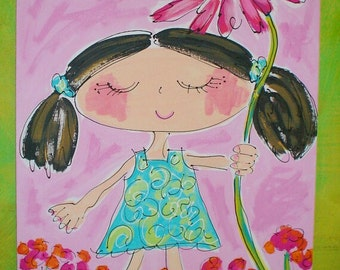 Pigtails and Pink Posies Original Canvas Painting Made To Order Custom Hair Color YelliKelli