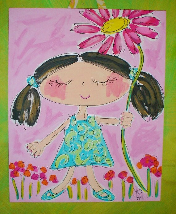 Pigtails and Pink Posies Original Canvas Painting Made To Order