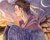 High Desert Ritual - Juniper Sage Barn Owl Feathers Wings Celtic Native American Goddess Shell Spiral Shaman Moon