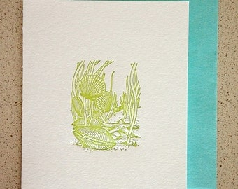 SALE! Vintage under the sea letterpress card