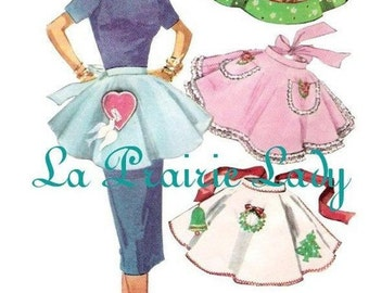 Repro Vintage Half Apron 50's PDF Pattern No 28 Available in M-L-XL
