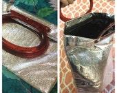 Shiny Silver Clutch Folding Handbag Adjustable Purse Shiny Metallic Retro Resin Handles Snap Close new condition!