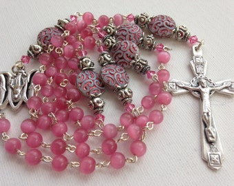 Handmade Pink Glass Catholic Rosary, Beaded Rosaries, Catholic Rosary, Pink Rosary, Custom Rosary, Catholic Rosaries, Made to Order Rosaries