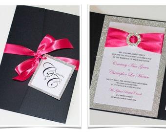 Glitter Wedding Invitation - Elegant Wedding Invitation - Luxury Wedding Invitation - Black tie Hot Pink Silver Glitter - Courtney Sample