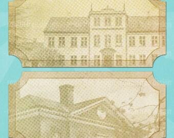 Old Houses PRINTABLE LABELS Digital Collage Sheet DIY Wine Labels - no. 0151
