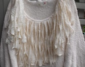 Plus Size/Frilly/Fringey/Creamey/Luscious/Upstyled Cotton Sweater with Muslin and Lace