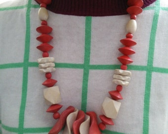 Vintage wooden red and white necklace