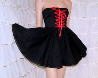 Black Red Satin Ribbon Corset Laced Strapless Dress - All XS / Medium - MTCoffinz - Ready to Ship