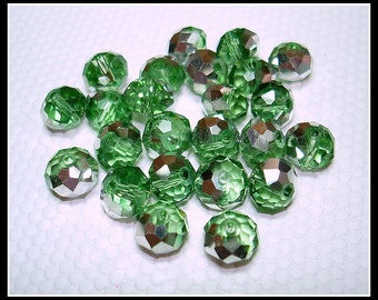 Green Silver Plated Faceted Glass Abacus Beads (Qty 24) - B2542