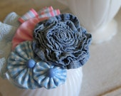 Hand made & upcycled hair pretty - clip or headband. denim rose gingham pink and blue ruffles