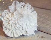 white fabric yoyo hair pretty - wedding, blessing, baptism, newborn - Alligator clip or headband